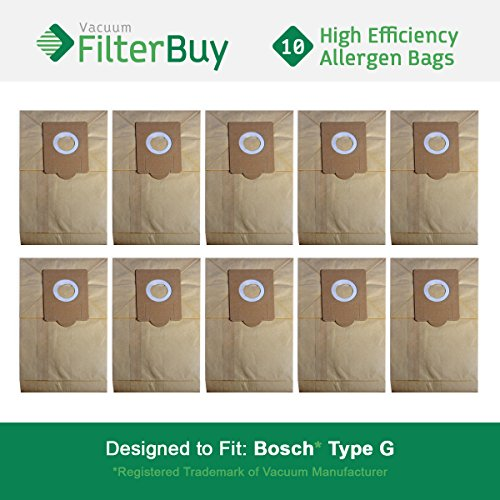 10 FilterBuy Bosch Type G Compatible Vacuum Bags, Bosch part # 462544, BBZ51AFG1U & BBZ51AFG2U. Designed by FilterBuy to fit Bosch Compact, Formula, HealthGuard, Electro Duo & Plus Canister Vacuums (Bosch Formula)