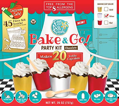 Fun for All Foods Top 8 Allergen Free Chocolate Cupcake Party Kit (Silver) (Bake Fish Mix)