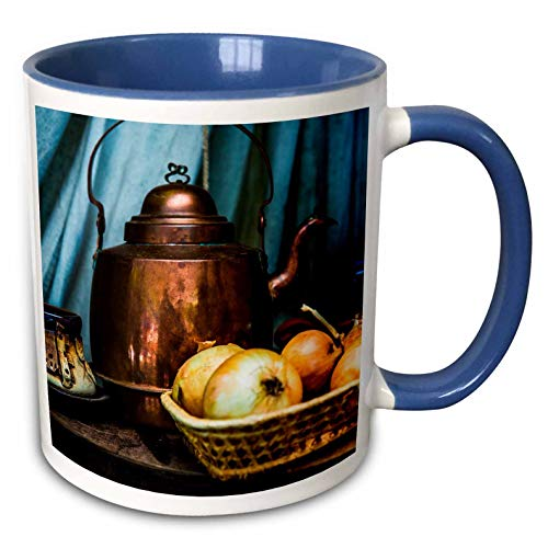 3dRose Alexis Photography - Still-Life - Vintage copper teapot and onions in a wicker bowl on a table - 11oz Two-Tone Blue Mug (mug_304792_6)
