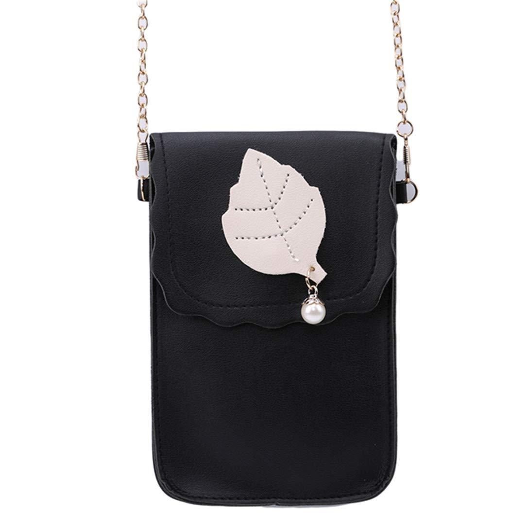 lehao Leaves Pattern Messenger Bag Large Capacity Wallet Shoulder Handbag Mini Messenger Travel Daily Use,Gray