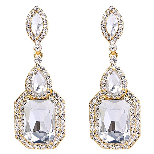 BriLove Gold-Toned Dangle Earrings for Women Wedding