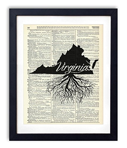 Virginia Home Grown Upcycled Vintage Dictionary Art Print 8x10