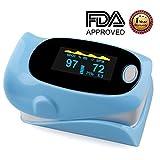 Pulse Oximeter, Finger Portable FDA Approved Digital Blood Oxygen and Pulse Sensor Meter with Alarm SPO2 For Adults and Children (Light Blue)