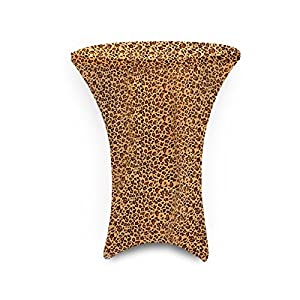 36 Inch Linen Spandex Fitted Stretchable Round Tablecloth for Cocktail Table, 36 By 42 Inch, Leopard