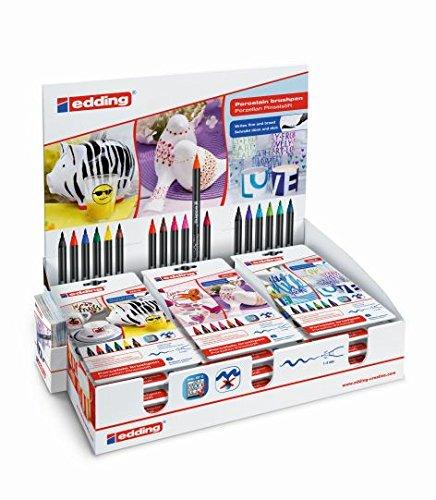 Porzellan-Pinselstift Sets sortiert im Display Flexible Pinselspitze mit variabler Strichstärke Edding 50292, Verpackungseinheit: 1 Display