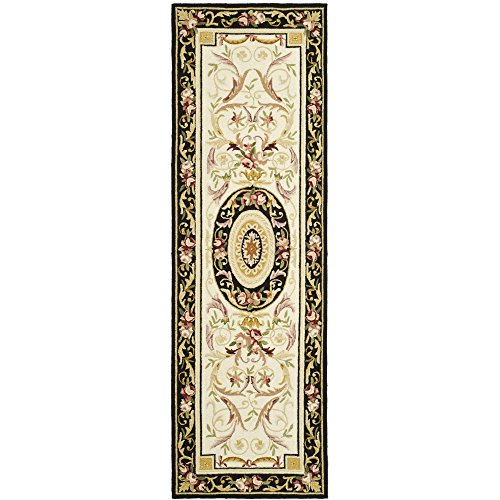 Safavieh Chelsea Collection HK72B Hand-Hooked Ivory and Black Premium Wool Runner (2'6