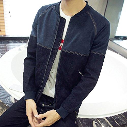 Chaqueta casual color puro en chaquetas de invierno para hombres chaqueta invierno machos jóvenes, moda marea azul oscuro ,M
