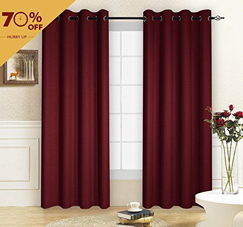 Burgundy Cotton Fabric (TOYABR 1 Panel Cotton Canvas Fabric Blackout Room Darkening Window Curtain For Living Room (52 x 95 inch, Burgundy))