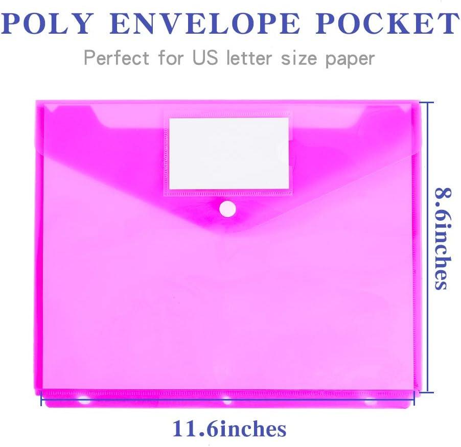 Side Loading,Letter Size 12 Pack Poly Binder Pocket Pocket Folders Poly Envelopes Clear Document Folders for 3 Ring Binder with Label Pocket /& Snap Button for School Home Office