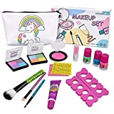 Girls Washable Makeup Set - Meland Non-toxic Cosmetic Pretend Play Kit Includes Unicorn Makeup Bag, Blush, Eyeshadows, Lipsticks, Brushes, Nail Polish, Nail Separators, Nail Art Stickers