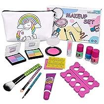 Girls Washable Makeup Set - Meland Non-Toxic Cosmetic Pretend Play Kit Includes Unicorn Makeup Bag, Blush, Eyeshadows, Lipsticks, Brushes, Nail Polish, Nail Separators, Nail Art Stickers