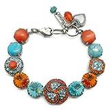 Mariana Swarovski Crystal Silver Plated Bracelet Orange Aqua Rivoli Mosaic M1079 Serengetti