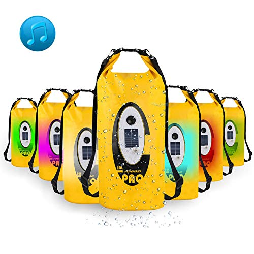 Waterproof Dry Bag, Dry Bag with Bluetooth Speaker Solar Powered and USB Powered