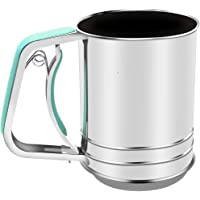 Stainless Steel Almond Flour Sifter One Hand for Baking with 3 Meshes Squeeze Style