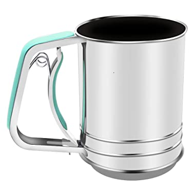 One Hand sifter Stainless Steel 3 Cup Flour Sifter 3 Cup with 3 Meshes