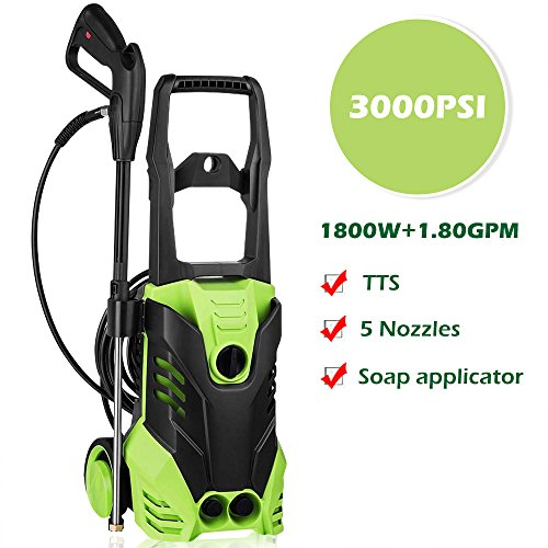 Rendio 3000 PSI Electric Pressure Washer 1800W Rolling Wheels High Pressure Professional Washer Cleaner Machine with Power Hose Nozzle Gun and 5 Quick-Connect Spray Tips (1 High Wheel)