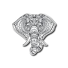 """#10688 Mandala Elephant Indian Sticker Decal for Car, Motorcycles, Windows, Laptops, Walls and More (3"""")"""