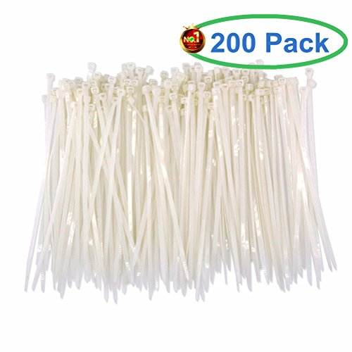 Upgrade Heavy Duty 200 Pcs White Clear Cable Ties 8 Inch, Premium Strong and Durable Wide 50 LB Strength, Nylon Self-locking Zip Ties By HAODE FASHION