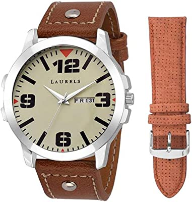 Laurels Dexter Large Ivory Men's Ivory Dial Synthetic Band Watch
