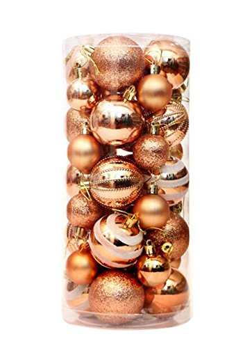 36 Pieces Christmas Baubles Novelty Coloured Baubles Bright Baubles Matte Finish Baubles Christmas Tree Decorations Ball Ornaments, 40mm and 60mm Baubles Mixed Permutation (Rose Gold) (Christmas Rose Ornaments)