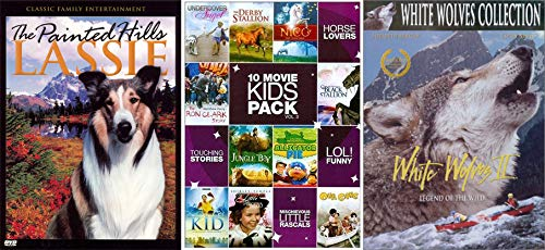 Kids Pets And Wild Animals: Lassie The Painted Hills + 10 Kids Movie Pack Vol 3 + Movie White Wolves 2: Legend of the Wild 3 DVD 12 Kids Movie Set