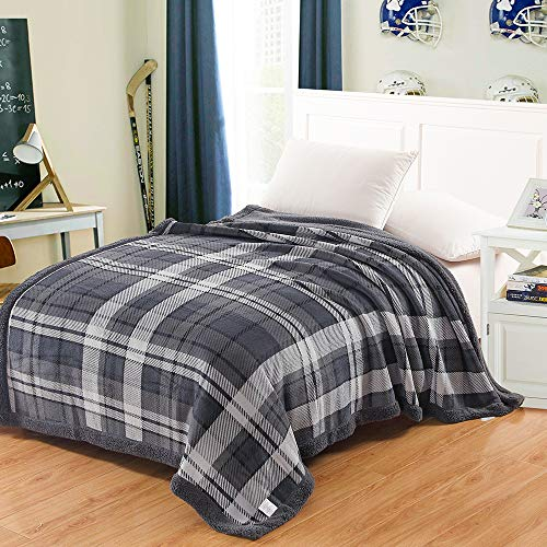 Adult Thick Sherpa Blanket Double Layers Flannel Fleece Throw Blanket King Size (Gray Plaid, King Size 80