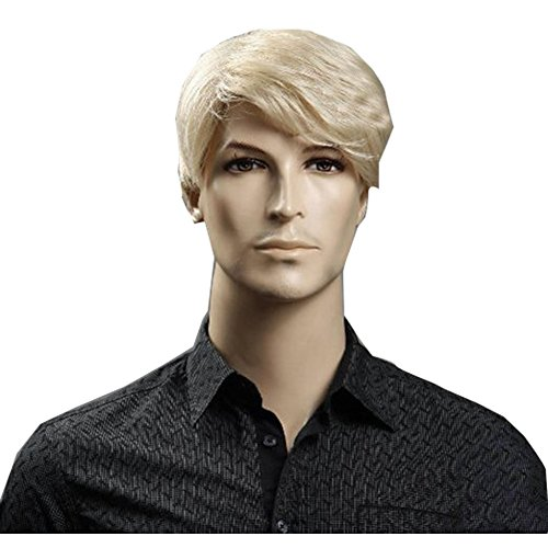 KOLIGHT Fashion Business Blonde Wig Men Short Blonde Wigs Synthetic Natural Hair Wigs Hot Men Hair Wig