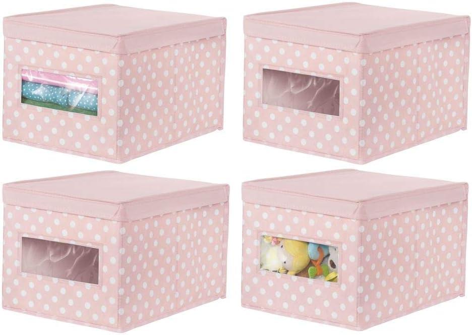 Aufbewahrungskiste mit Deckel und Sichtfenster violett//wei/ß stapelbare Stoffbox zur Ablage von Kleidung oder Schuhen und als Schrankbox mDesign 6er-Set Aufbewahrungsbox aus Stoff