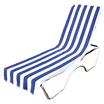 J U0026 M Home Fashions Lounge Chair Beach Towel With Fitted Pocket Top, 26 By  82 Inch, Blue