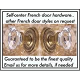 French Door Antique type Old Town Passage Knob Set 24% Lead Crystal Glass & Antique Brass