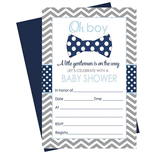 Bow Tie Baby Shower Invitations for Boys (Set