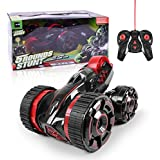 6 in 1 Five Wheels Stunt Car Remote Control RC Vehicle with LED Headlights Extreme High Speed 360 Degree Rolling Rotating Double Side Roll (Red)