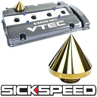 24K Gold Spiked Billet Aluminum Turbo Engine Valve Cover Oil Lid Filler Cap for Nissan Maxima