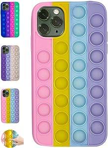 Fidget Toys Phone Case, Fidget Pop It Phone Case, Push Pop Bubble Protecive Case for iPhoneX,XS,XS Max,XR, iPhone 11,11pro,12,12Pro 12Pro Max Relieve Anxiety Autism (iPhone 11 Pro Max, Multicolor 1)