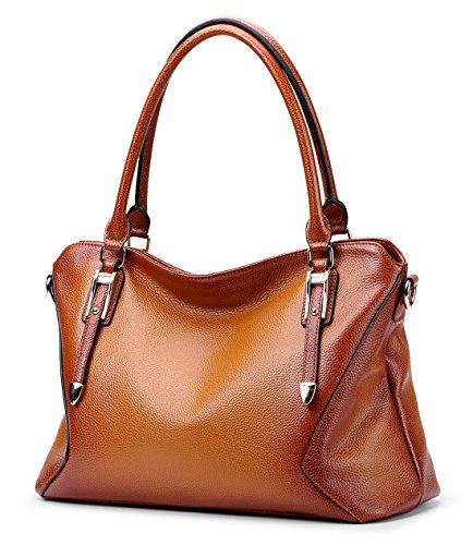 (Vintage Women's Leather Purse Tote Shoulder bag & CrossBody Handbag For Ladies By Coolcy (Sorrel))