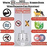 Premium White Magnetic Screen Door with Grey Fireproof Fiberglass Mesh | Screen Size 36''x83'' - Fit Doors up to 34 x 82 inch | 100% Satisfaction & Guranteed