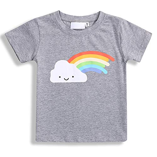 (Baby Twins Clothes,Toddler Baby Boy Girl Summer T-Shirt Rainbow Short Sleeve Tee Tops Cotton Family Matching Clothes (Rainbow & B, 2-3 Years))