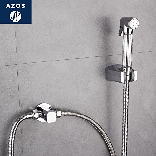 Azos Bidet Faucet Pressurized Sprinkler Head Brass Chrome Cold Water Two Function Toilet Pet Bath Shower Room Round PJPQ027D by AZOS