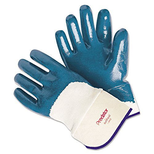 MCR Safety 9760 Predator Supported Nitrile Coated Palm Men's Gloves with Safety Cuff, Smooth, Blue/White, Large, 1-Pair