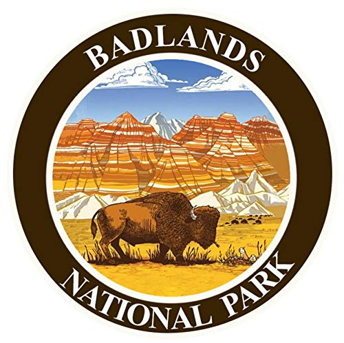 """Explore Badlands National Park 3.5"""" Embroidered Patch Iron Sew-on Explorer Series Souvenir Travel Vacation Mountains Forest Woods Bears Buffalo Wolves Elk Rivers Hiking Camping Fishing Mountain Lion"""