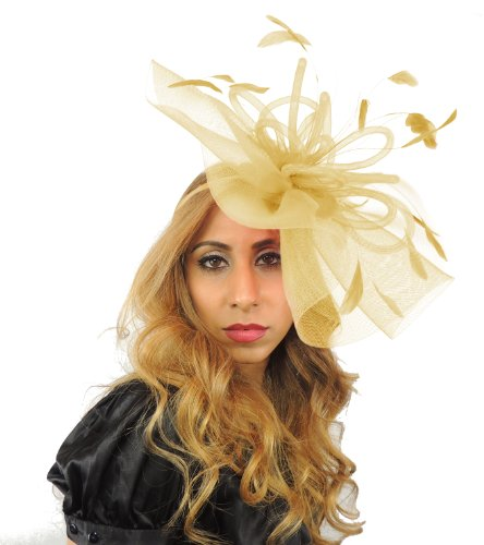 Sombreros Por Cressida Grand Dame 12pulgadas Sheer Ascot/Kentucky Derby Tocado Sombrero con Diadema Metallic Gold