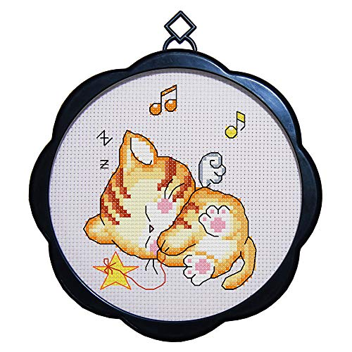 Full Range of Embroidery Starter Kits Stamped Cross Stitch Kits Beginners for DIY Embroidery (Multiple Pattern Designs) - Kitten