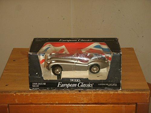 - ERTL EUROPEAN CLASSICS: 1948 JAGUAR XK 120 IN SILVER WITH RED INTERIOR CAR IN 1:18-SCALE DIECAST METAL