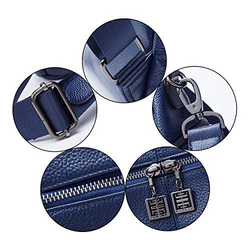 02 Rucksack Fashion for Purse 02 BOYATU Travel Women Daypack Backpack Leather Bag Black Large Blue U1wpF6