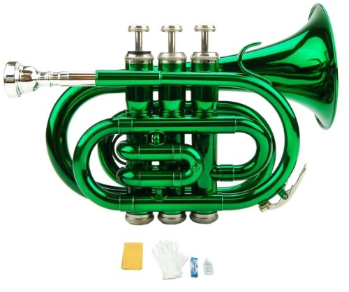 - Merano B Flat Green Pocket Trumpet with Case+Mouth Piece;Valve oil;A Pair Of Gloves;Soft Cleaning Cloth