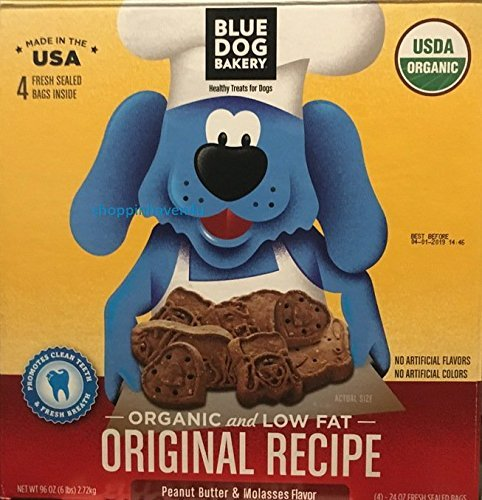 Blue Dog Bakery Organic & Low Fat Original Recipe. Peanut Butter & Molasses (4) - 24 OZ Fresh Sealed Bags (TOTAL 6 LB) (Dog Bakery Low Fat)