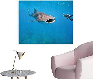 Shark Wall Picture Decoration Giant Whale Shark and Underwater Photographer in Wildlife Diving Image The Office Poster Violet Blue Pale Grey W36 xL32
