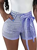BEAGIMEG Womens High Waist Stripe Casual Shorts with Pockets Belt Dark Blue, Dark Blue, Large