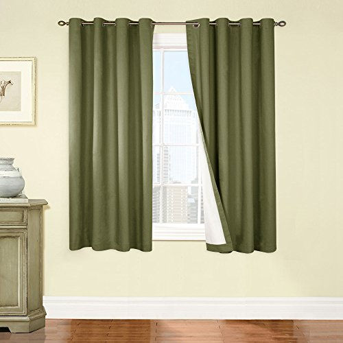 jinchan Thermal Lined Light Blocking Window Curtains / Drapes for Bedroom (One Panel Pack, 63 Inches Long, Sage)