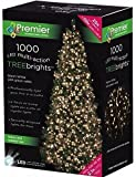 Premier Decorations - 1000 Multi Action TreeBrights LED Lights with Timer - Warm White
